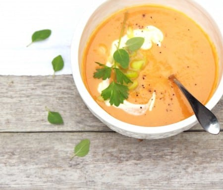 carrot and leek soup, scallions, creme fraiche