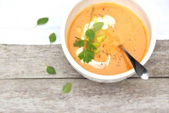 carrot and leek soup, scallions, creme fraiche
