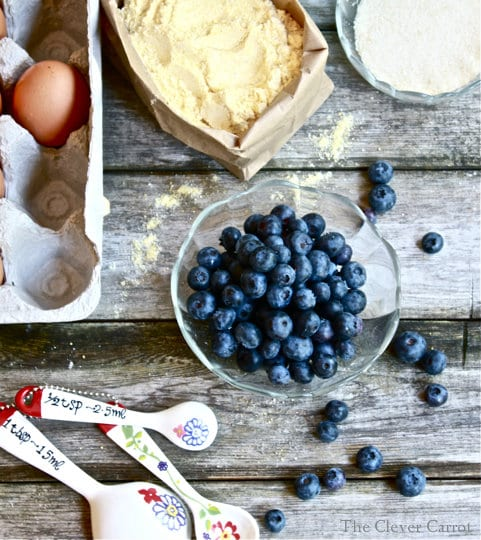 blueberries, measuring spoons, cornmeal, eggs