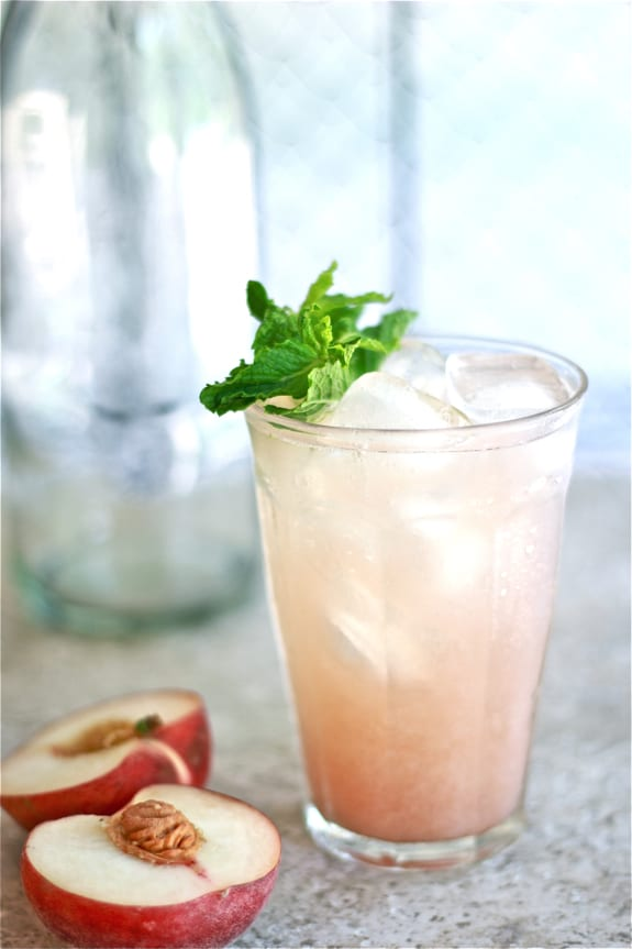 white peach cooler, glass