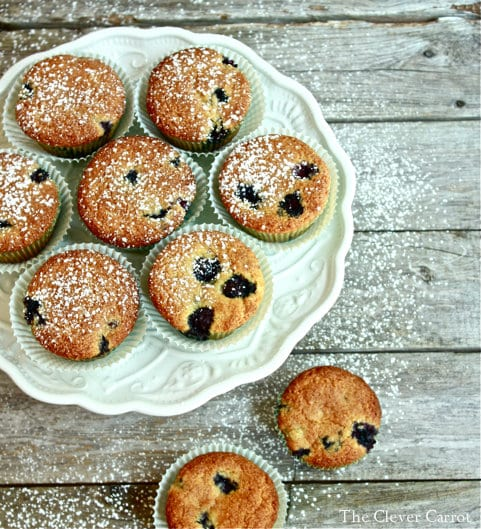 blueberry muffins, white cake stand