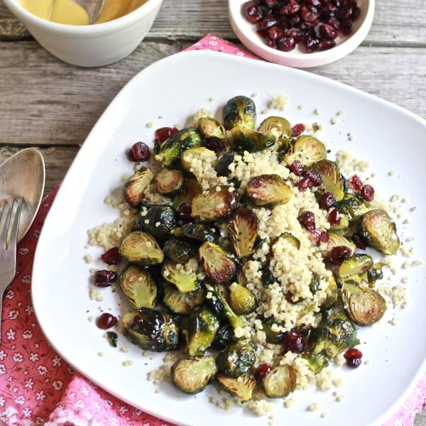 Roasted Brussels Sprouts w/ Quinoa, Cranberries + Miso | The Clever Carrot