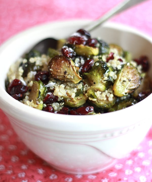 Roasted Brussels Sprouts w/ Quinoa, Cranberries + Miso   The Clever Carrot