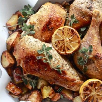 dinner tonight: greek chicken with lemon + oregano