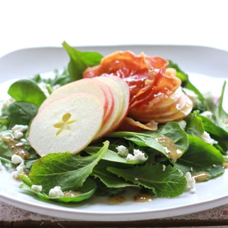 shaved apple + prosciutto salad