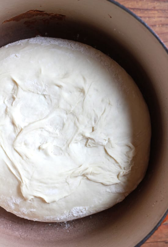 No-knead artisan bread dough in a Dutch oven