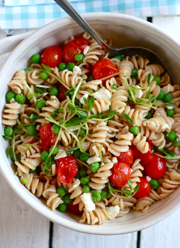 whole wheat pasta salad with feta + pea shoots | The Clever Carrot