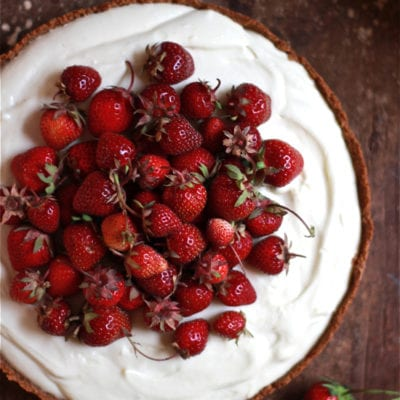 strawberries + cream tart
