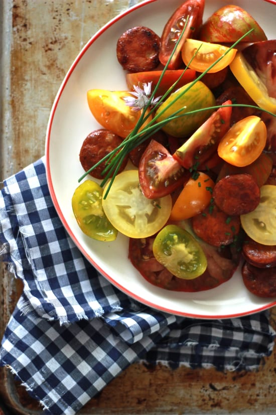 heirloom tomato + chorizo salad | The Clever Carrot