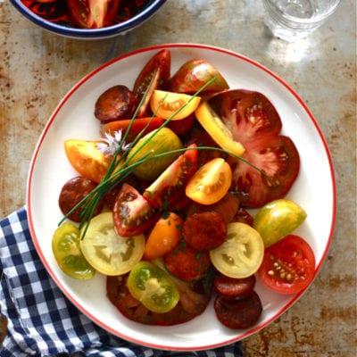 heirloom tomato + chorizo salad