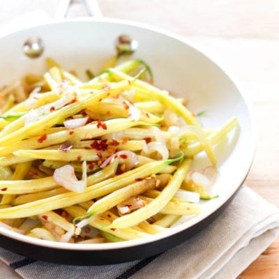 spicy yellow beans with shallots + lemon
