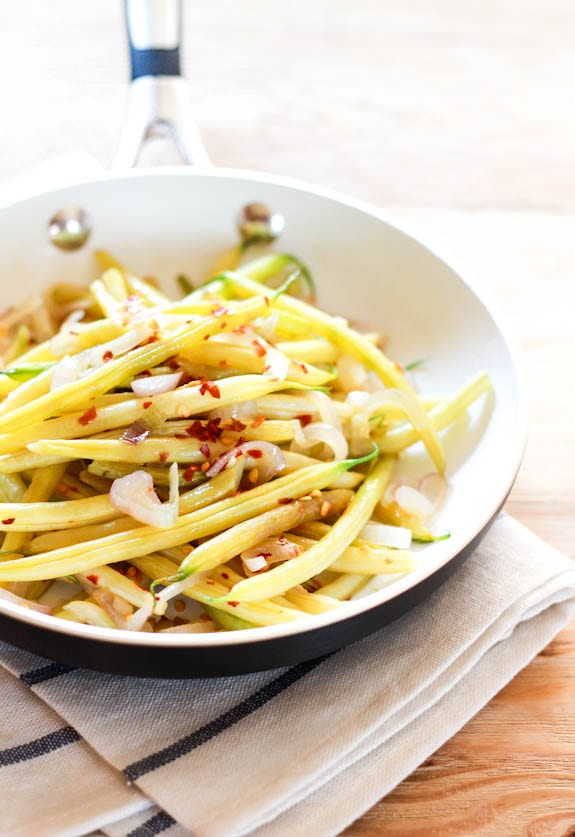 spicy yellow beans with shallots + lemon   The Clever Carrot