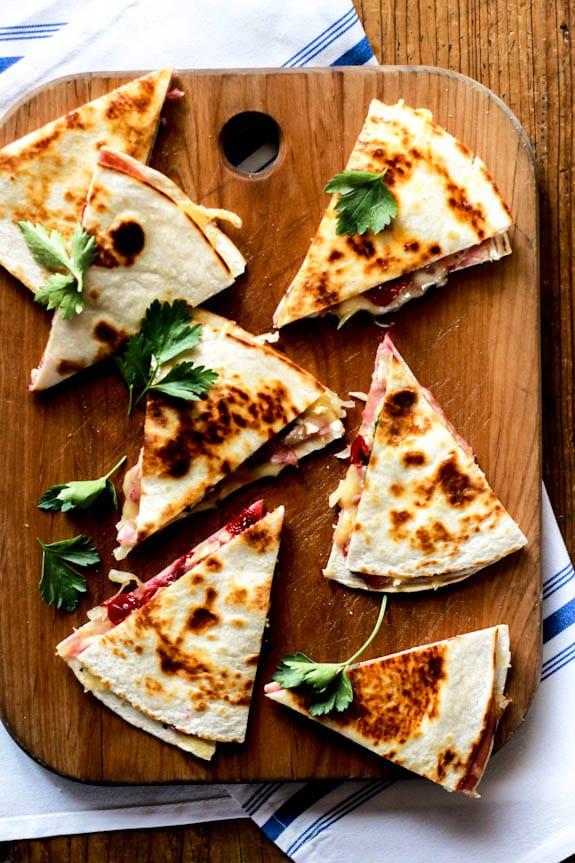 turkey cranberry quesadillas with ham + brie
