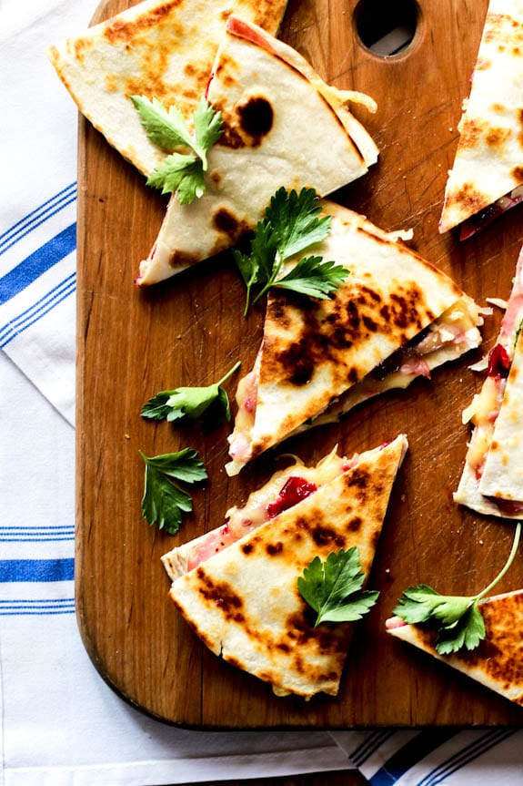 turkey cranberry quesadillas with ham + brie | The Clever Carrot