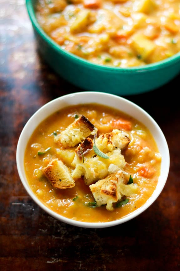 chunky root vegetable soup with gruyère + herb croutons | The Clever Carrot
