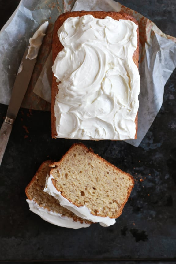 banana bread with greek yogurt frosting | The Clever Carrot