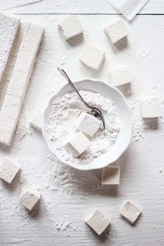 Marshmallow squares in powdered sugar