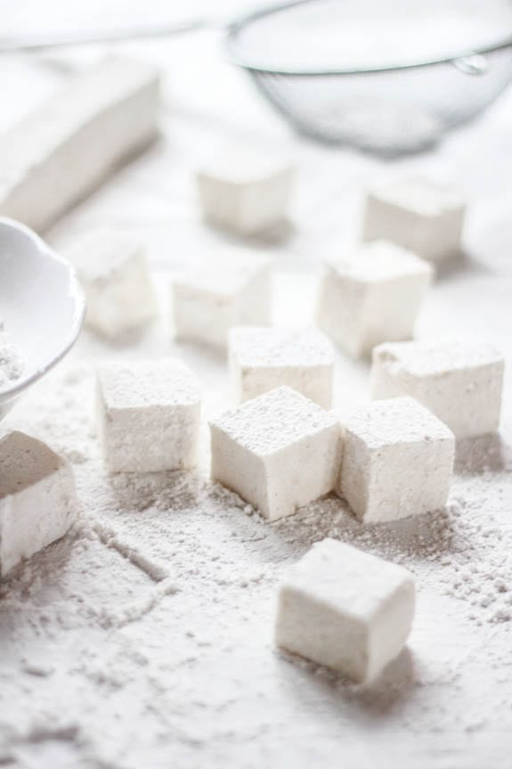 Marshmallow cubes with a sifter