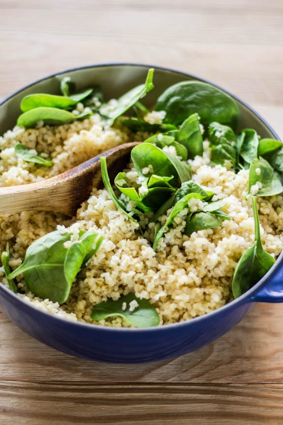 warm cracked wheat + spinach | The Clever Carrot