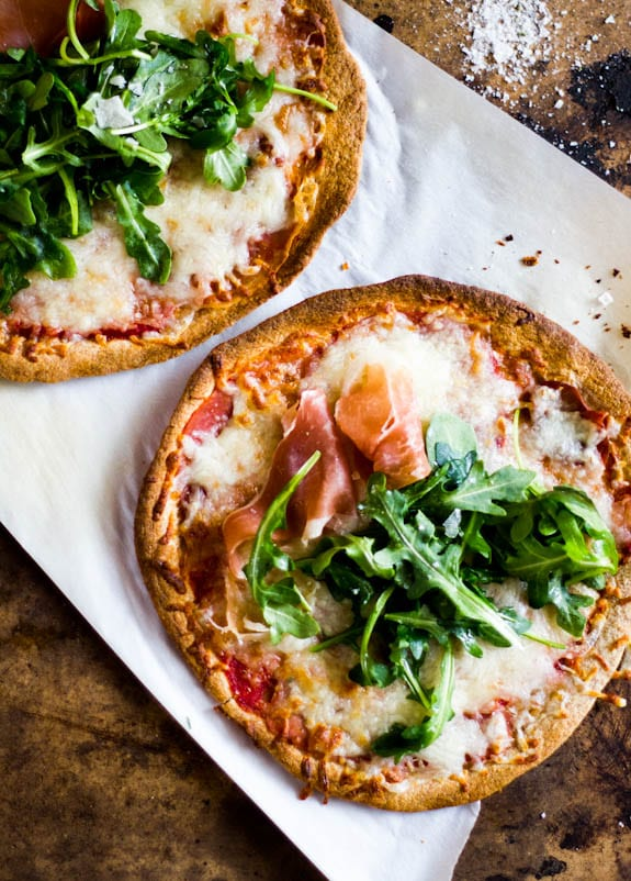 Whole Wheat Tortilla Pizzas With Arugula Prosciutto The Clever Carrot