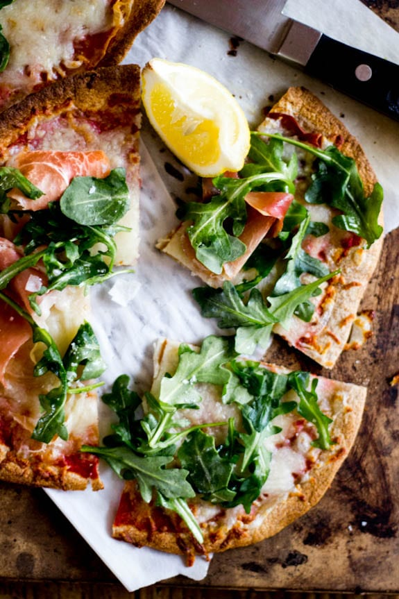 whole wheat tortilla pizzas with arugula + prosciutto | The Clever Carrot