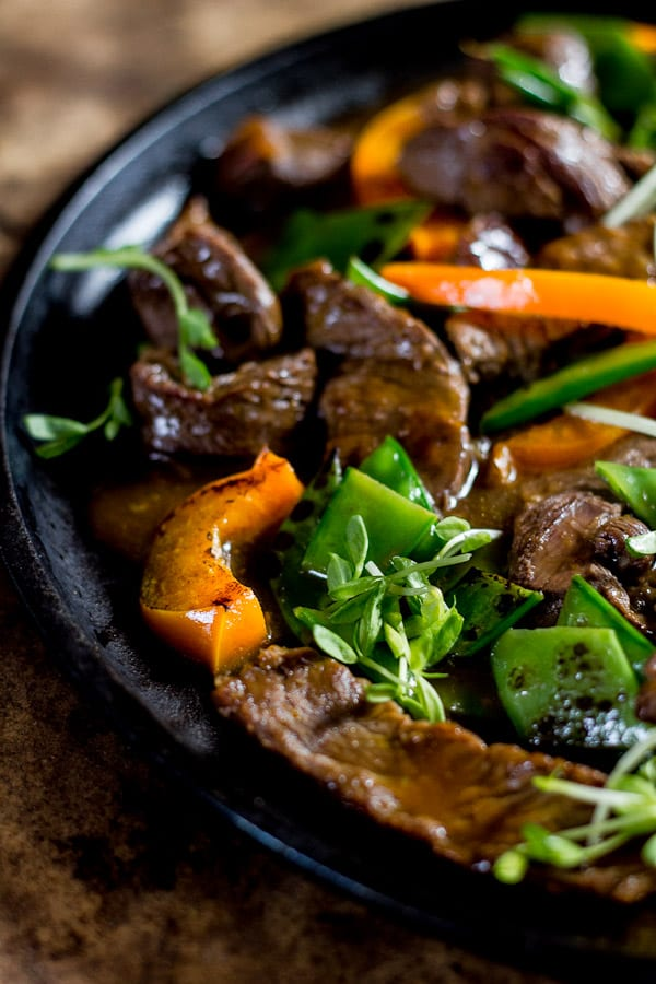 beef stir-fry with peppers + pea shoots | The Clever Carrot