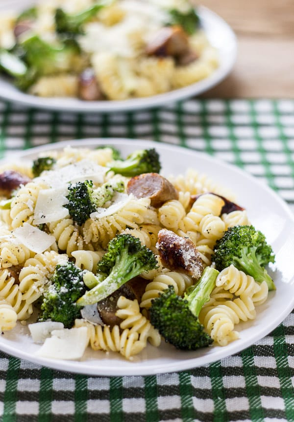 budget meals: pasta with roasted broccoli + chicken sausage | The Clever Carrot