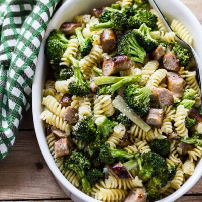 budget meals: pasta with roasted broccoli + chicken sausage