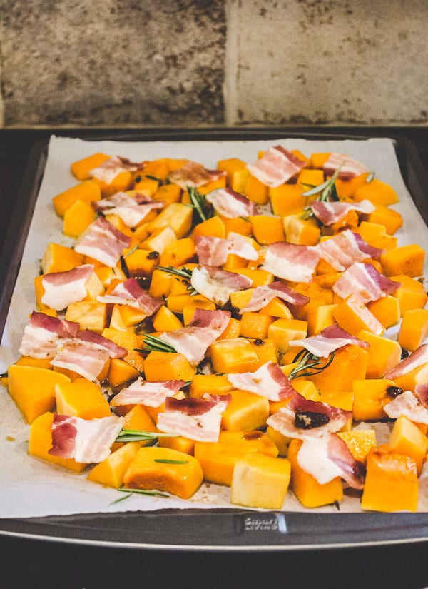 roasted butternut squash with brown sugar bacon | The Clever Carrot