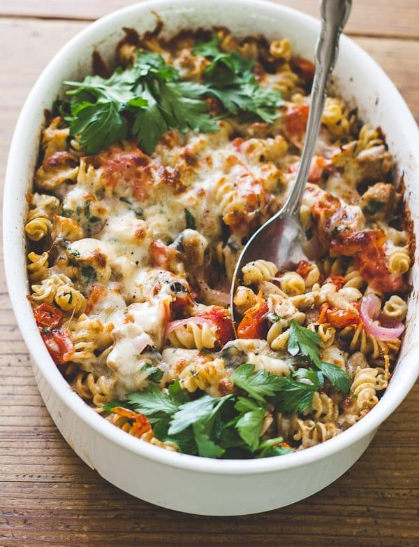 mediterranean chicken + pasta bake - The Clever Carrot