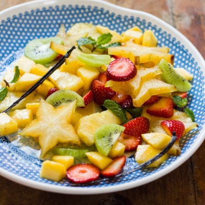tropical spiced fruit salad with mangoes + mint