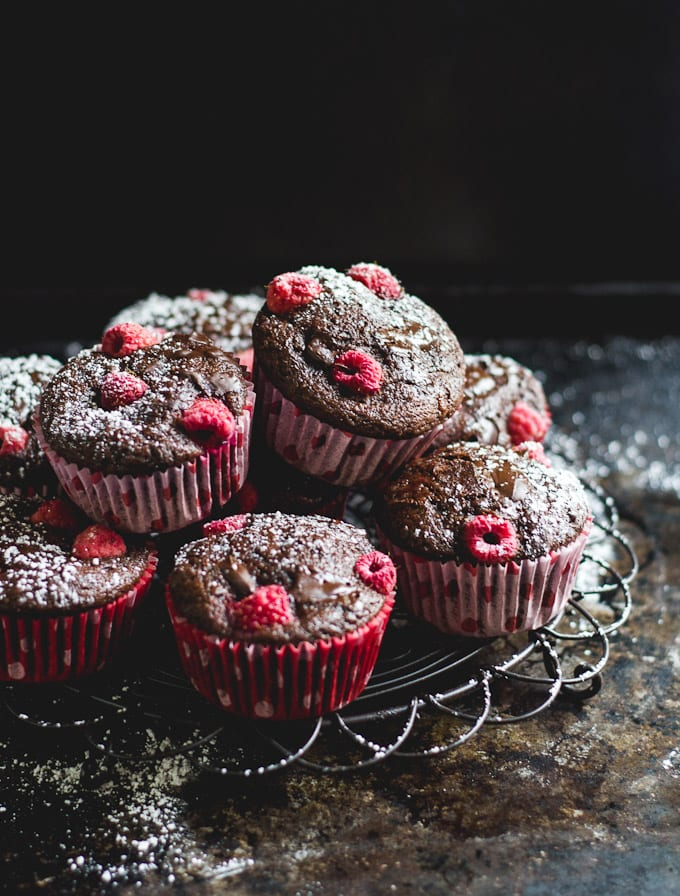 chocolate chunk raspberry spelt muffins   The Clever Carrot