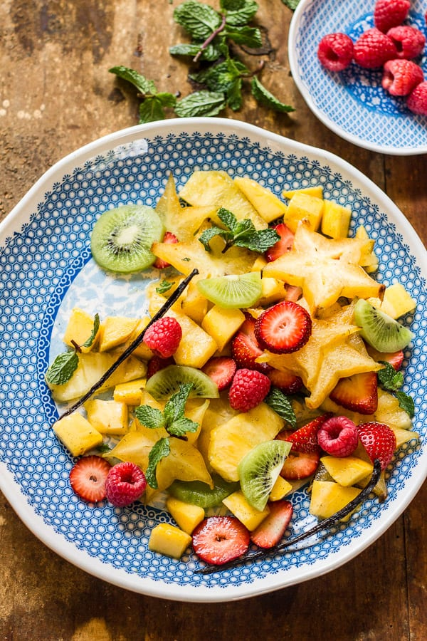 tropical spiced fruit salad with mangoes + mint | www.theclevercarrot.com