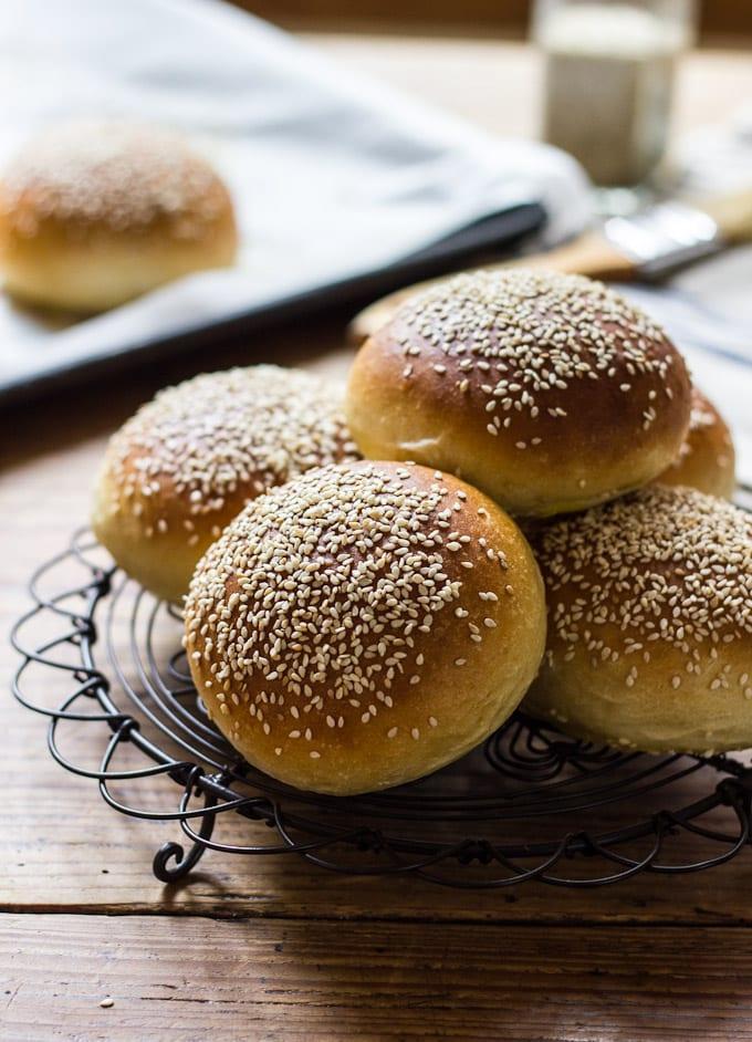 Light Brioche Hamburger Buns {Whole Wheat} | TheClever Carrot
