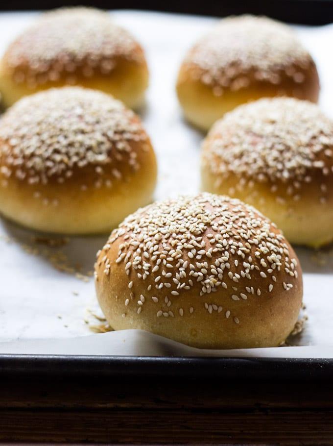 Light Brioche Hamburger Buns {Whole Wheat} | The Clever Carrot