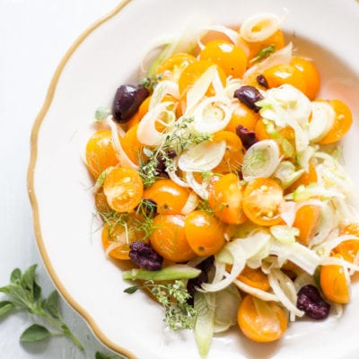 marinated fennel + tomato salad