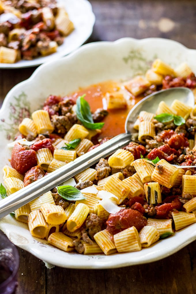 preserving the family table: rigatoni with sausage sauce | theclevercarrot.com