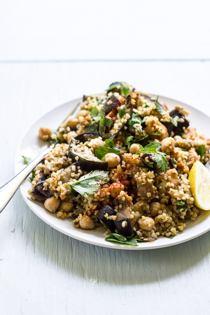 spiced eggplant, chicken + chickpea salad | theclevercarrot.com