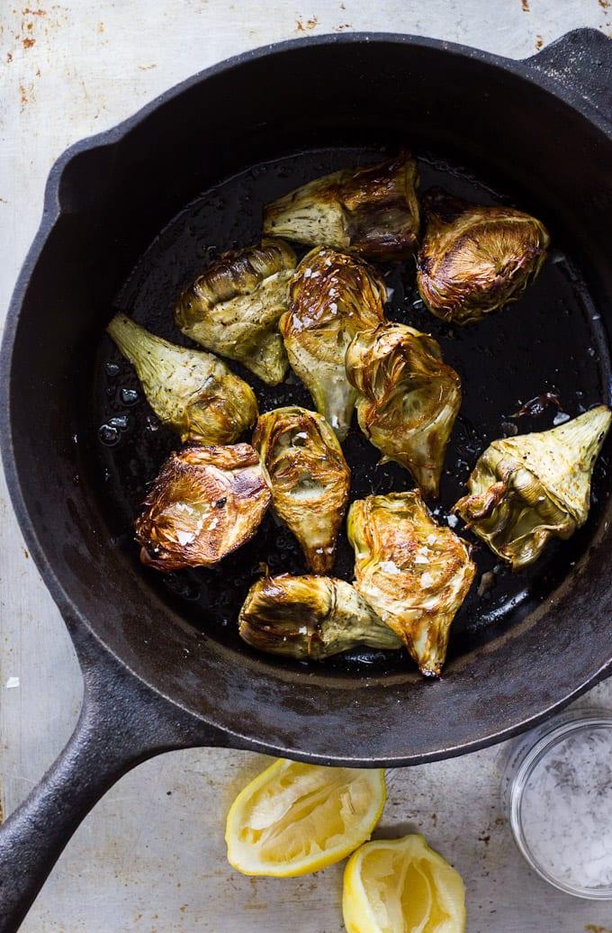 roasted baby artichokes with black pepper-lemon vinaigrette for dunking   theclevercarrot.com