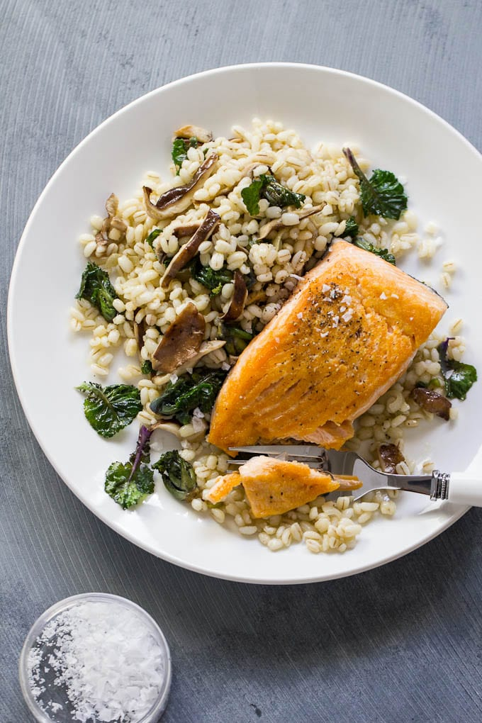 seared salmon with barley, shiitake + kale sprouts | theclevercarrot.com
