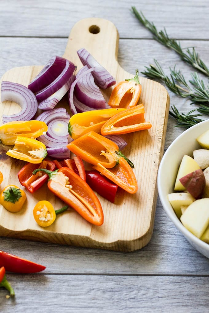 mixed veggies for italian sausage bake | theclevercarrot.com