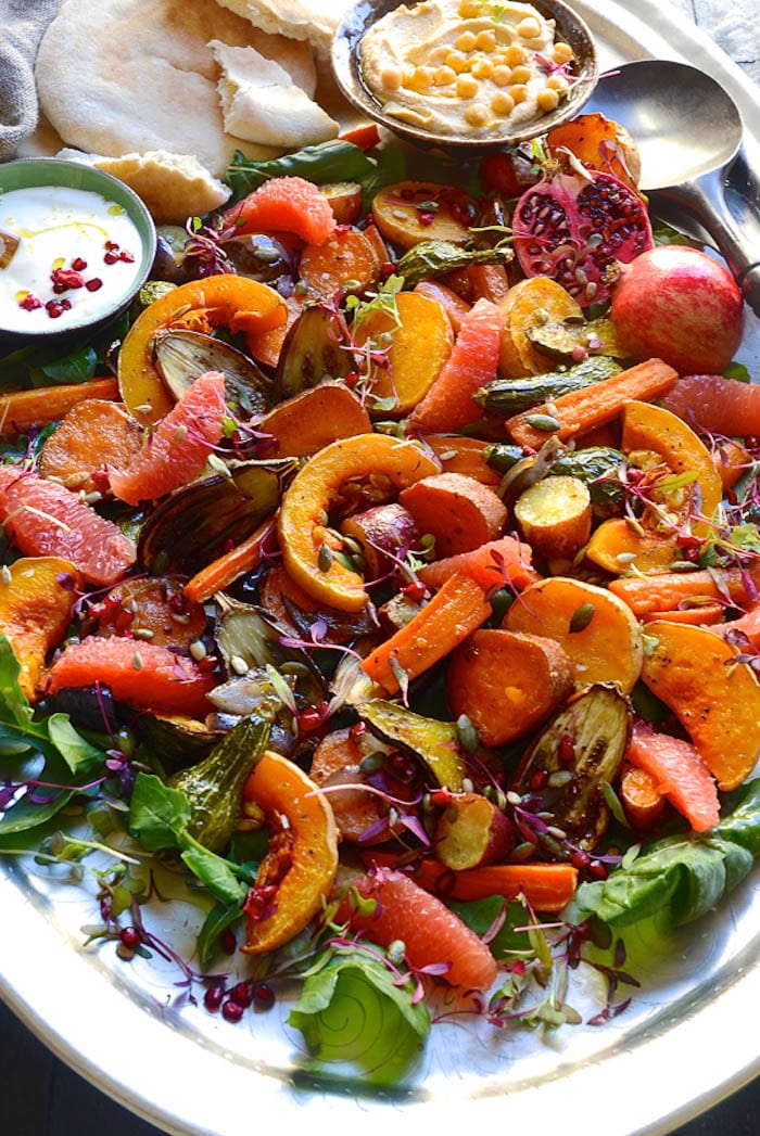 Roast Vegetables with Tahini Yogurt Drizzle- Bibby's Kitchen