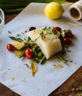 a non-traditional thanksgiving feast: baked fish in parchment