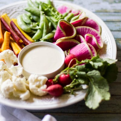 the ultimate crudité platter with white miso dip