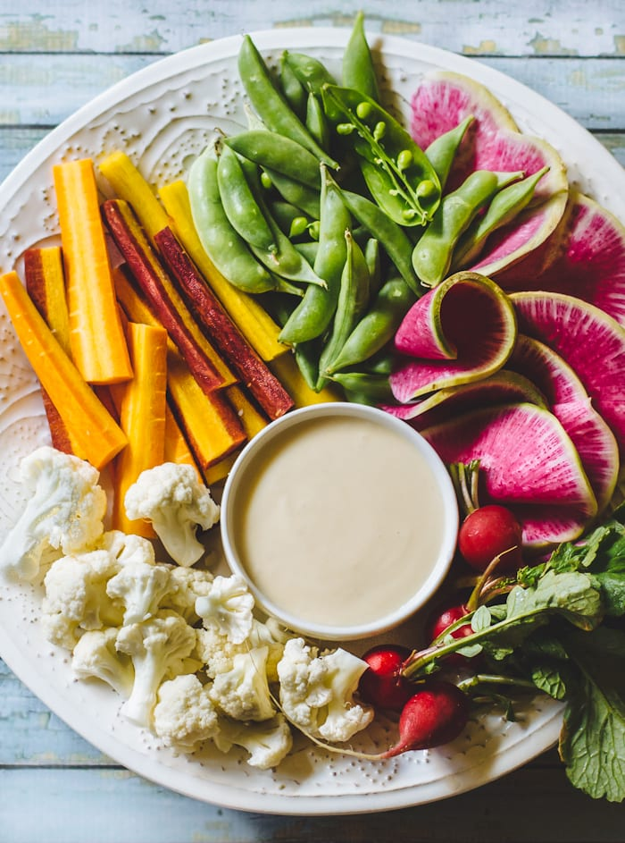 the ultimate crudité platter with white miso dip | theclevercarrot.com