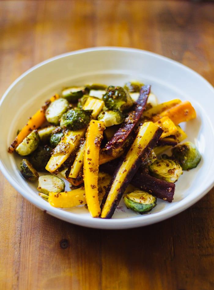 maple roasted harvest vegetables | theclevercarrot.com