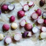 Roasted Radishes with Lemon Pepper Seasoning on a Sheet Pan