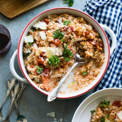 creamy baked sausage risotto
