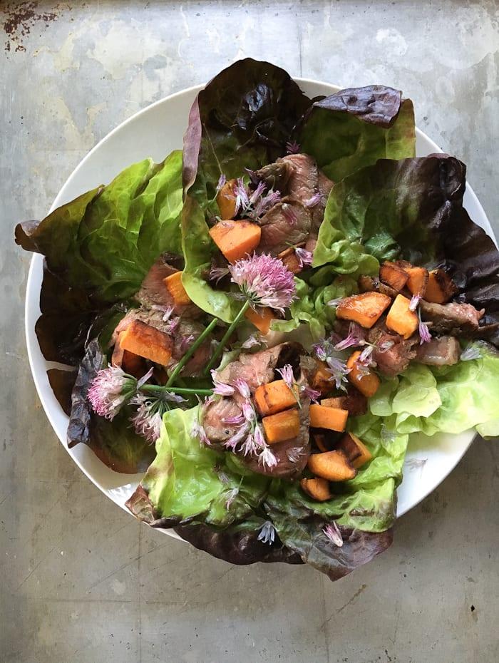 easy sweet potato lettuce wraps | theclevercarrot.com