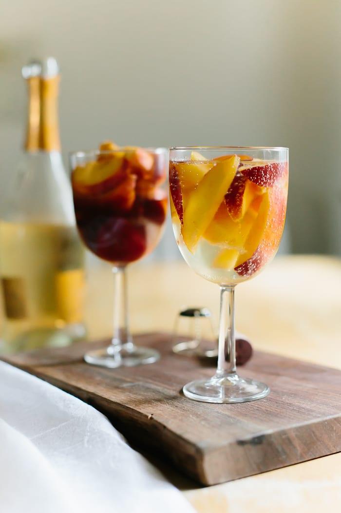 peaches in wine, 2 ways
